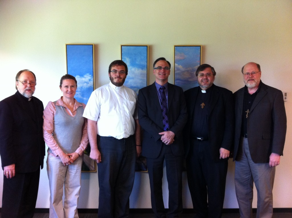 Fr Peter, Andrea Leader (Eparchy of Edmonton), Fr Alexander, Dr West, Fr Andriy, and Fr Stephen at Newman