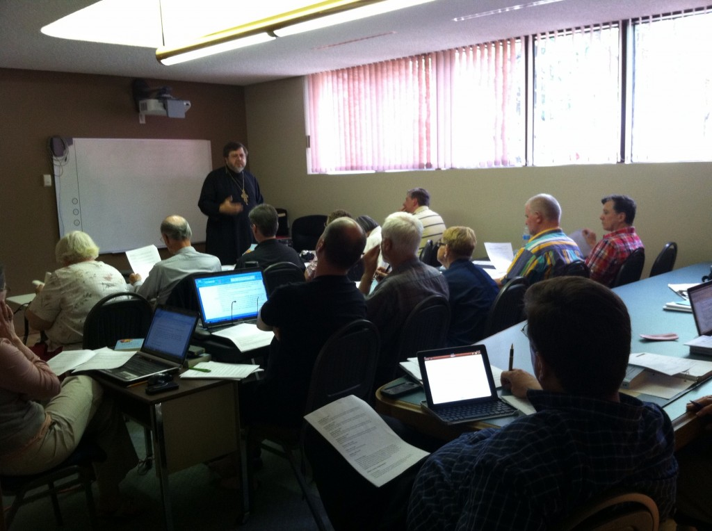 Fr Andriy teaching in Edmonton