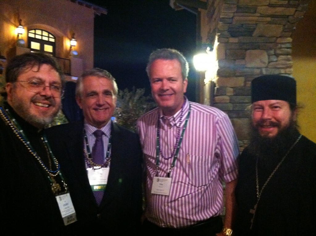 Fr Andriy, Thomas Loarie of the Catholic Business Journal, Tim Busch, napa institute co-founder and board chairman, and MASI alumnus Fr James Bankston.