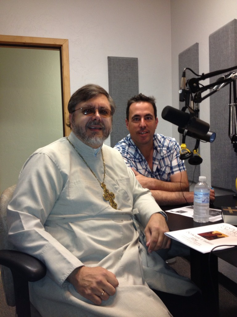 "Fr Andriy with Chris DeSimone, co-host of ""Wake up, Tucson"""