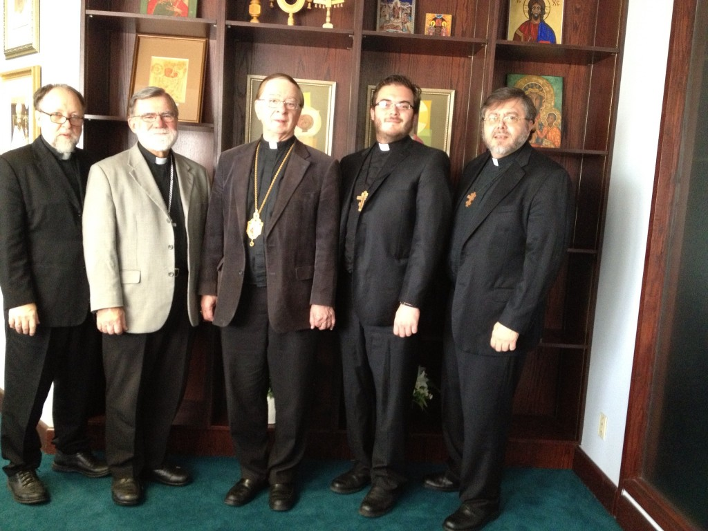 Fr Peter, Fr Bohdan, Vladyka Stefan, Fr Alexander, and Fr Andriy in Toronto