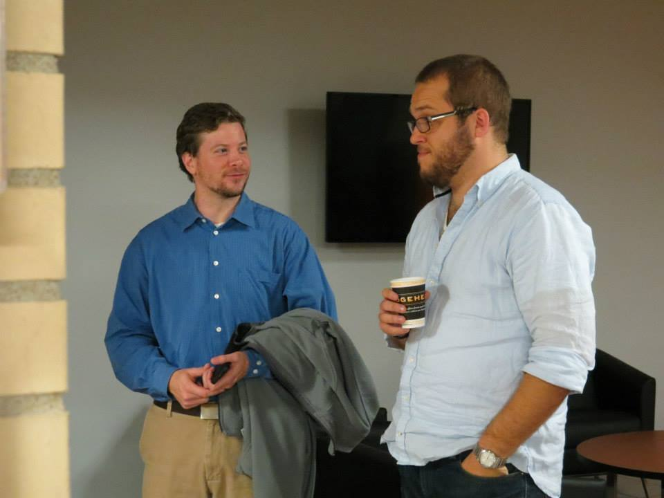 Canon law student Andrew and BTh/STB student and seminarian Tom at the reception after the lecture