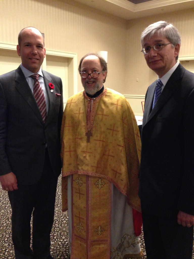 Fr. Peter after the Divine Liturgy that was served for delegates of the UCC Congress at the Airport Marriott. During the announcements, Fr. Peter praised Paul Grod, UCC president, and Eugene Czolij, president of the Ukrainian World Congress, for their exemplary participation in the Liturgy. Mssrs. Grod and Czolij are also members of the Metropolitan Andrey Sheptytsky Institute Foundation.
