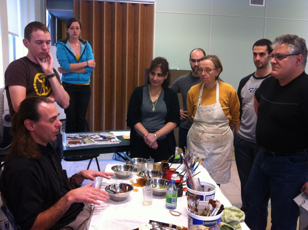 Fr Ivan explaining the egg tempera to course attendees