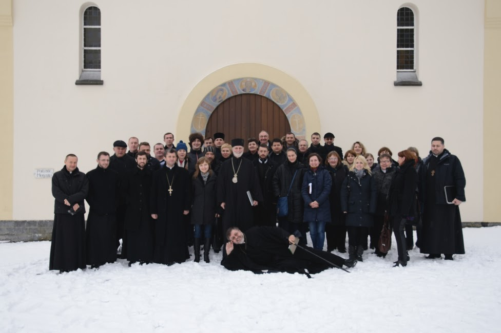 A group photo of many of the participants of the Paris Eparchy's First Sobor. Fr. Andriy Chirovsky in in front, lying down on the job.