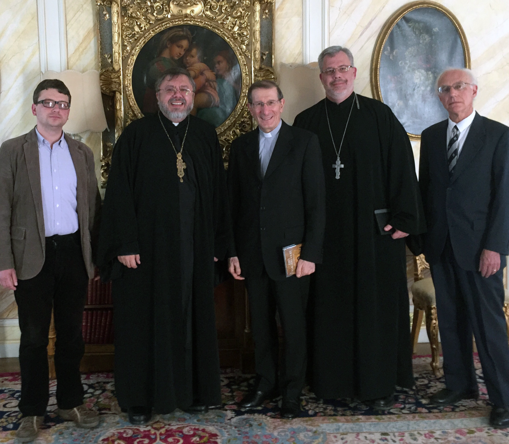 Left to right: Anatoliy Babynskyi, editor of Patriarkhat magazine (L'viv), Fr. Andriy Chirovsky, Sheptytsky Institute (Ottawa), Archbishop Luigi Bonazzi, Apostolic Nuncio, Fr. Michael Winn, Rector, Holy Spirit Seminary (Ottawa), Dr. Andrew Sorokowski, President of the Ukrainian Patriarchal Society (Washington, DC) Photo: Robert Ryan